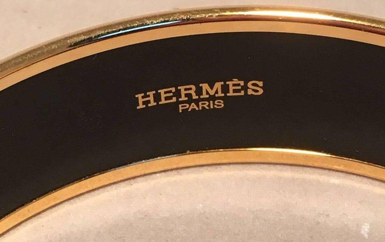 Hermes Teal and Purple Geo Print Gold Enamel Bangle Bracelet  For Sale 1