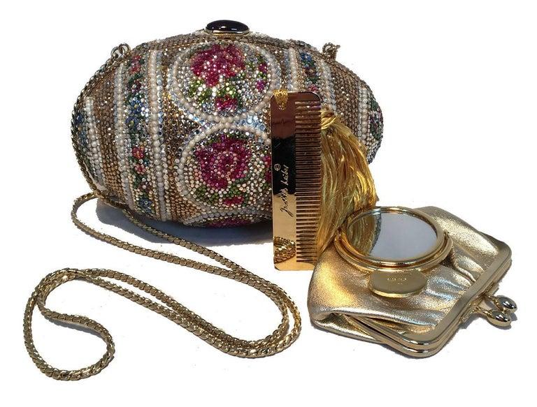 Judith Leiber Pearl Egg Swarovski Crystal Minaudiere Evening Bag For Sale 3
