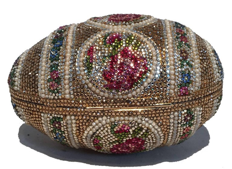 Women's Judith Leiber Pearl Egg Swarovski Crystal Minaudiere Evening Bag For Sale