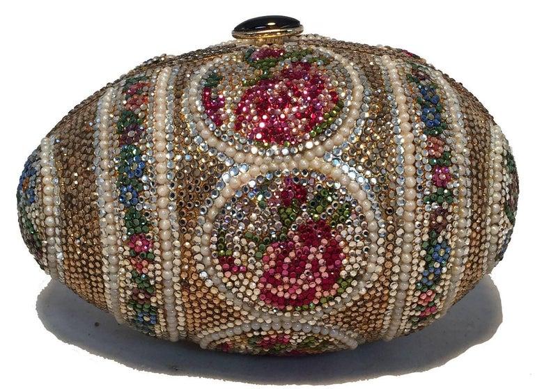 Brown Judith Leiber Pearl Egg Swarovski Crystal Minaudiere Evening Bag For Sale