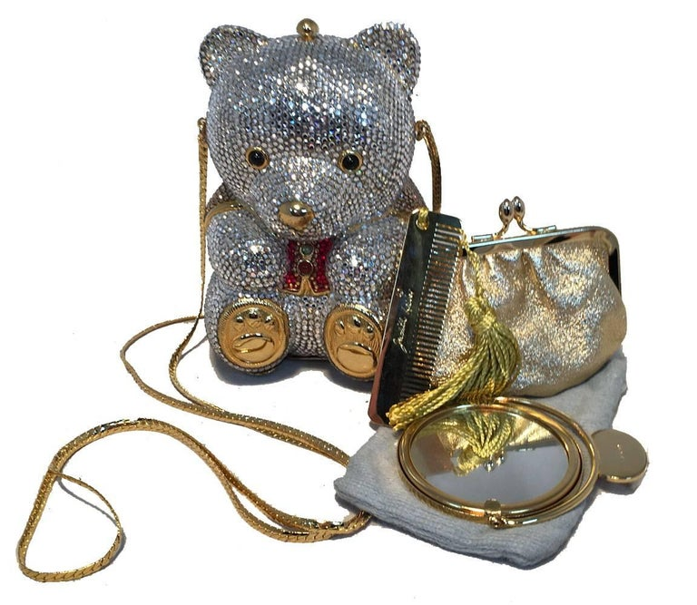 Judith Leiber Swarovski Crystal Teddy Bear Minaudiere Evening Bag For Sale 2