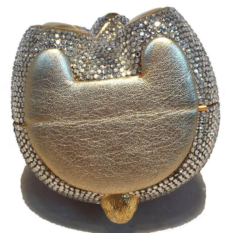 Judith Leiber Swarovski Crystal Teddy Bear Minaudiere Evening Bag In Excellent Condition For Sale In Philadelphia, PA