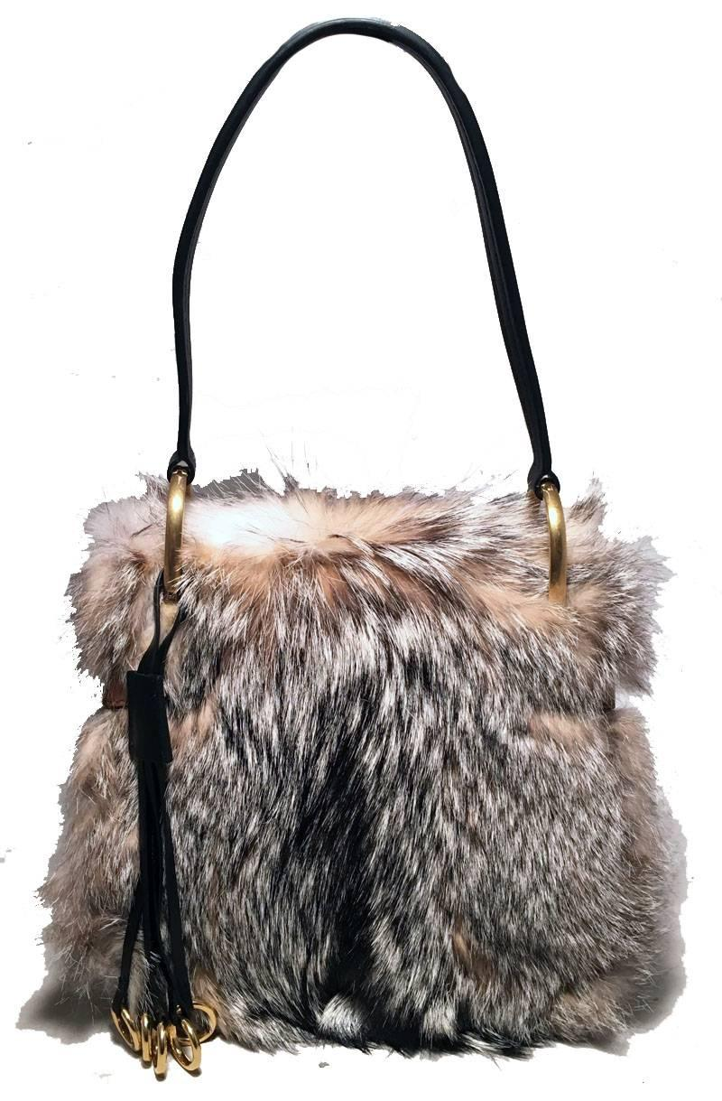 Prada Nwot Prada Fox Fur And Tan Leather Shoulder Bag