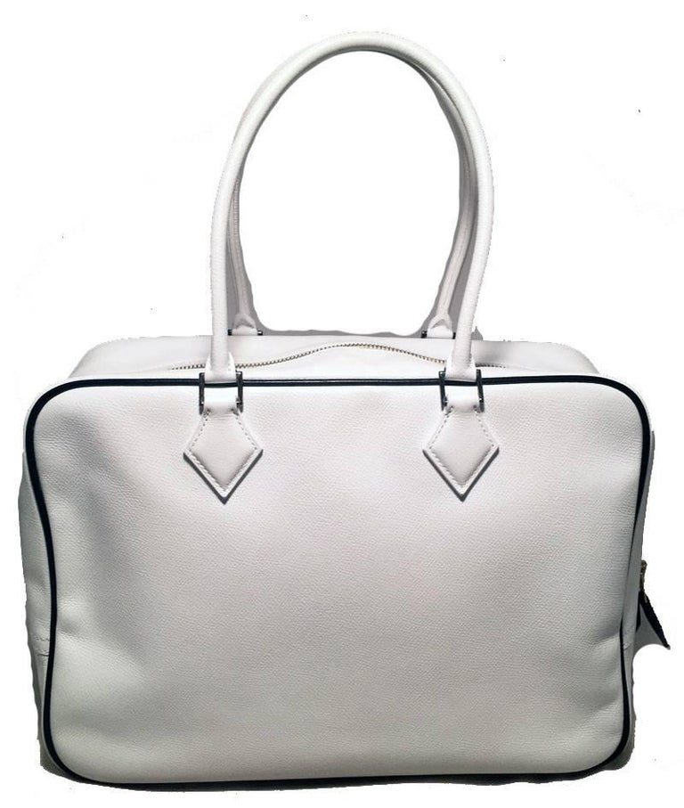 Gray Hermes Black and White Veau Grain Leather Plume 32 Tote Handbag For Sale