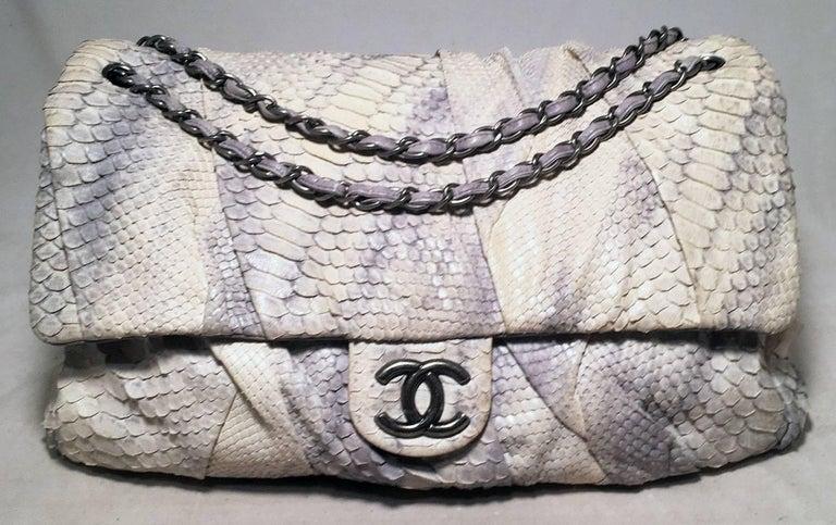 1c68bc8cc6e4 Chanel Rare Natural Snakeskin Python XL Classic Flap Shoulder Bag For Sale 4