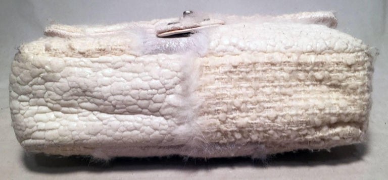 Chanel White Wool and Fur Patchwork Classic Flap Shoulder Bag In Good Condition For Sale In Philadelphia, PA