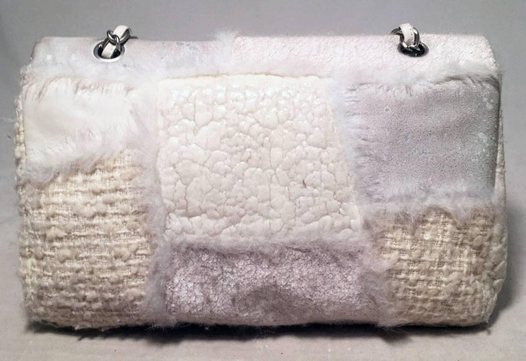 Gray Chanel White Wool and Fur Patchwork Classic Flap Shoulder Bag For Sale