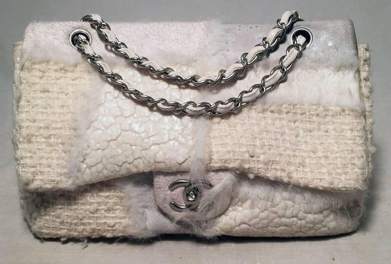 Chanel White Wool and Fur Patchwork Classic Flap Shoulder Bag For Sale 5