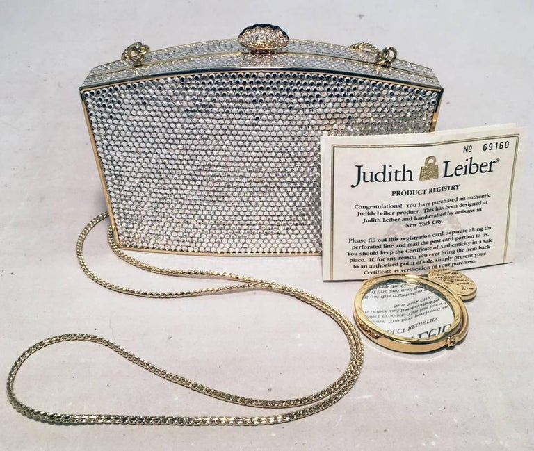 Judith Leiber Clear Swarovski Crystal Minaudiere Evening Bag Clutch For Sale 3