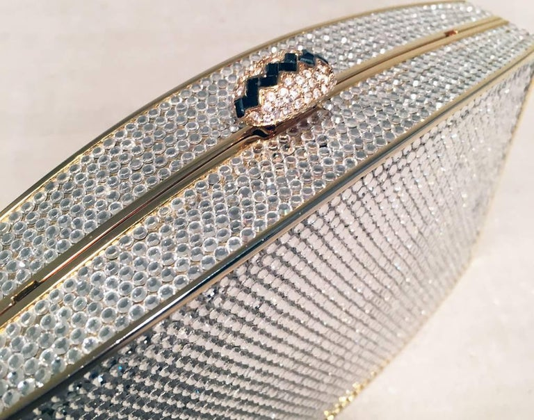 Women's Judith Leiber Clear Swarovski Crystal Minaudiere Evening Bag Clutch For Sale