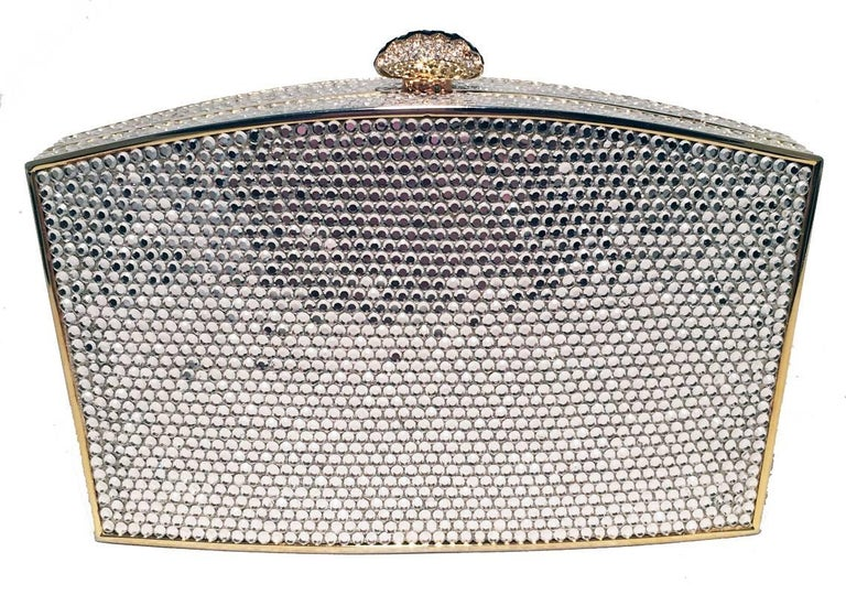 Gray Judith Leiber Clear Swarovski Crystal Minaudiere Evening Bag Clutch For Sale