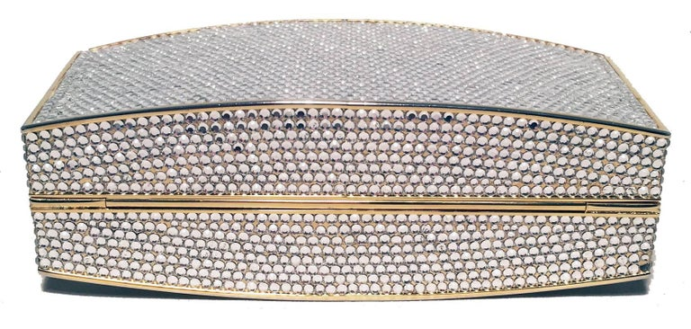 Judith Leiber Clear Swarovski Crystal Minaudiere Evening Bag Clutch In Excellent Condition For Sale In Philadelphia, PA