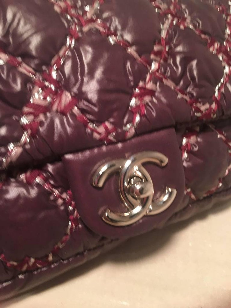 Chanel Plum Purple Quilted Puffy Nylon Classic Flap Shoulder Bag For Sale 1