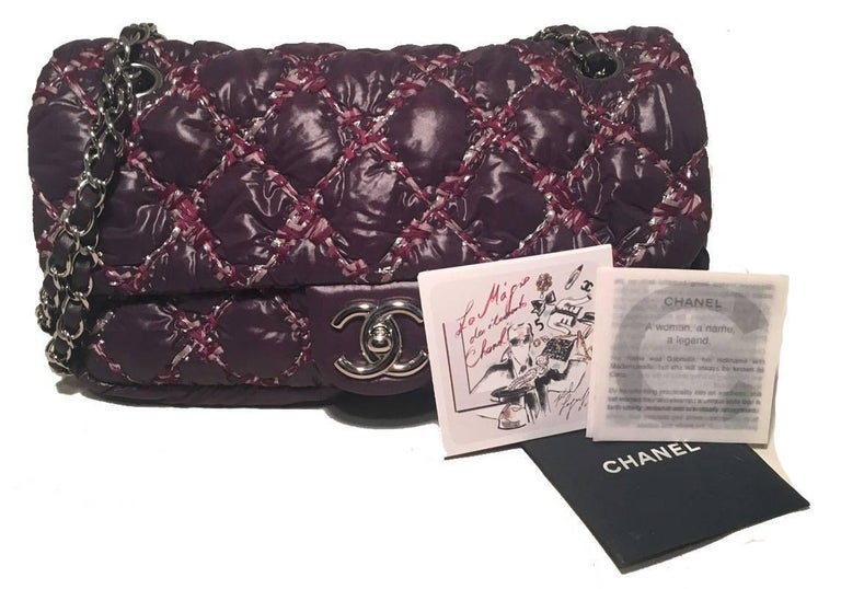 Chanel Plum Purple Quilted Puffy Nylon Classic Flap Shoulder Bag For Sale 2