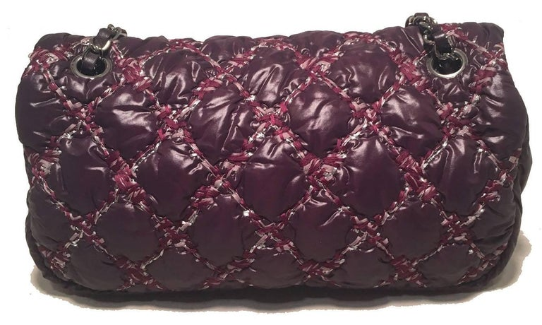 Chanel Plum Purple Quilted Puffy Nylon Classic Flap Shoulder Bag In Excellent Condition For Sale In Philadelphia, PA