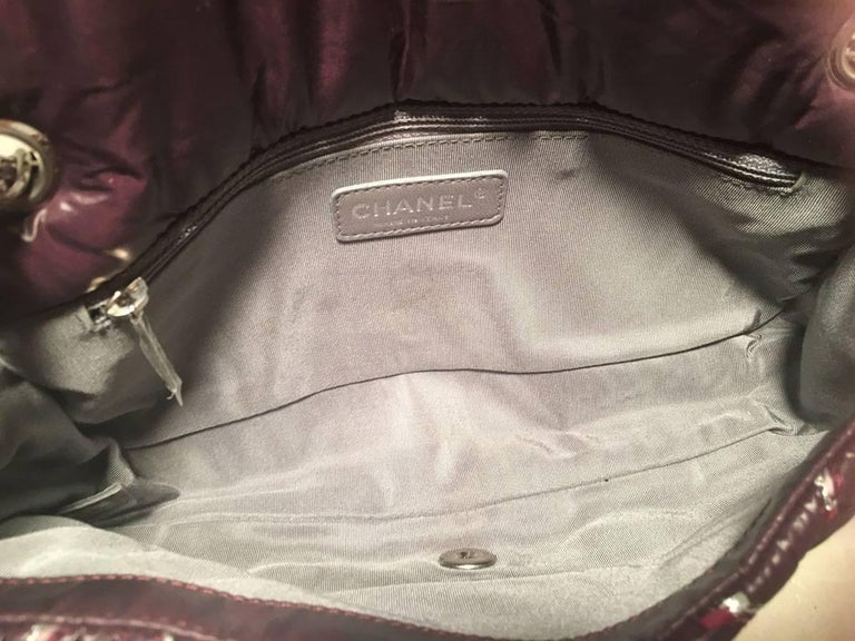 Chanel Plum Purple Quilted Puffy Nylon Classic Flap Shoulder Bag For Sale 4