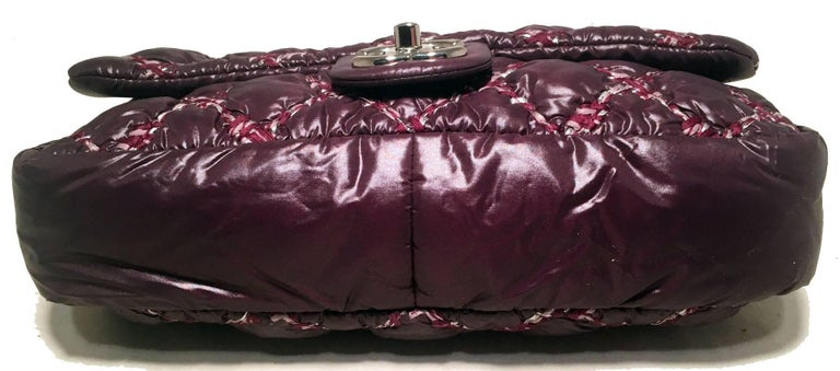 Women's Chanel Plum Purple Quilted Puffy Nylon Classic Flap Shoulder Bag For Sale