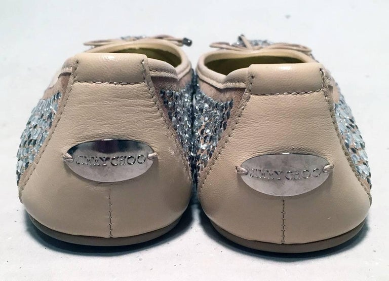 Women's Jimmy Choo Nude and Gold Crystal Studded Ballet Flats Size 37.5 For Sale