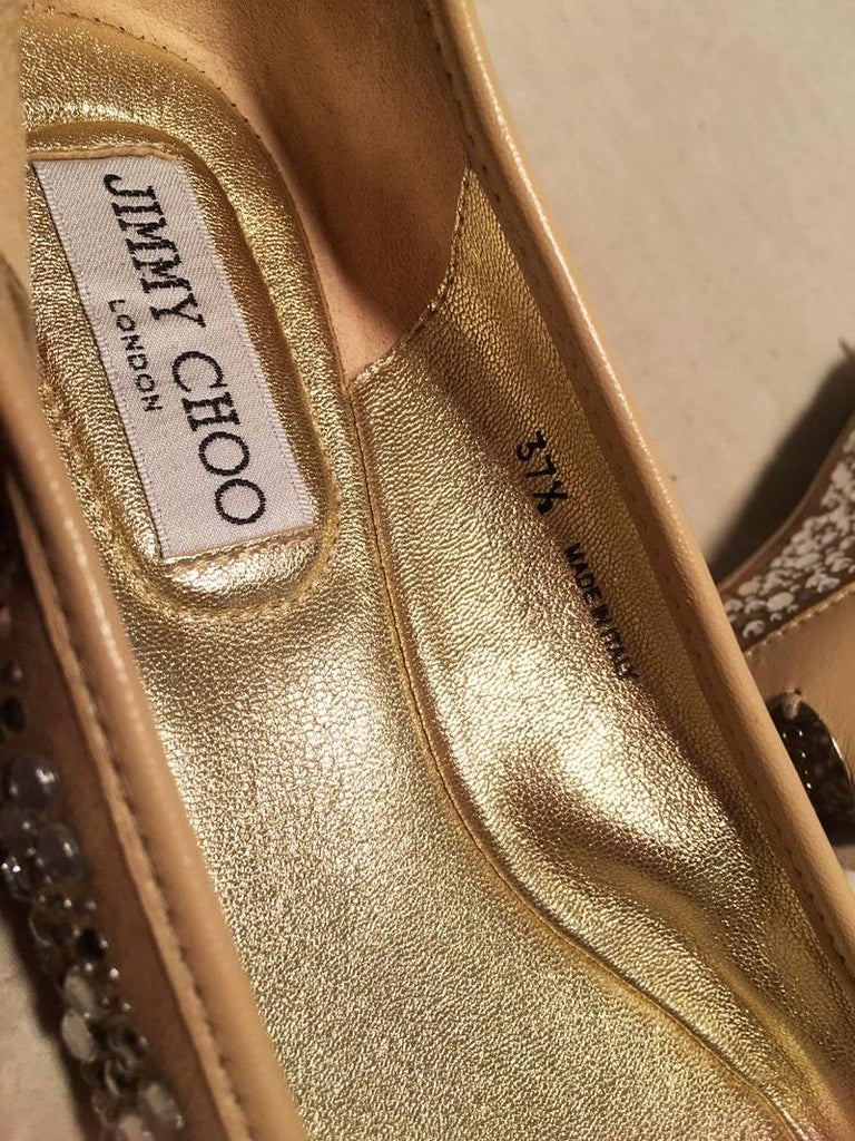 Jimmy Choo Nude and Gold Crystal Studded Ballet Flats Size 37.5 For Sale 2