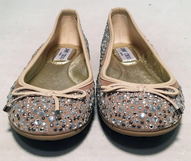 Brown Jimmy Choo Nude and Gold Crystal Studded Ballet Flats Size 37.5 For Sale