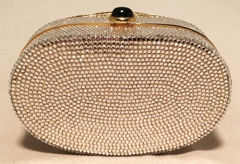 Brown Judith Leiber Swarovski Crystal Phantom Of the Opera Mask Minaudiere Evening Bag For Sale