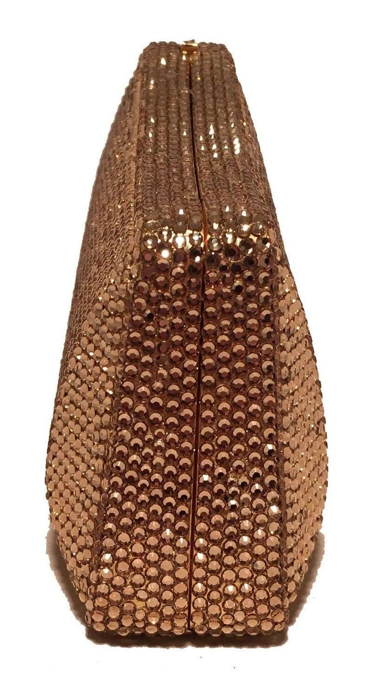 Brown Judith Leiber Gold Swarovski Crystal Evening Bag Minaudiere Clutch  For Sale