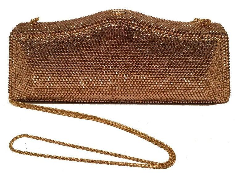 Judith Leiber Gold Swarovski Crystal Evening Bag Minaudiere Clutch  For Sale 2