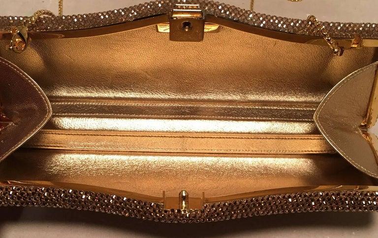 Judith Leiber Gold Swarovski Crystal Evening Bag Minaudiere Clutch  For Sale 1