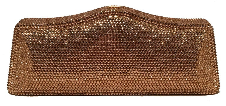 Judith Leiber Gold Swarovski Crystal Evening Bag Minaudiere Clutch  In Excellent Condition For Sale In Philadelphia, PA