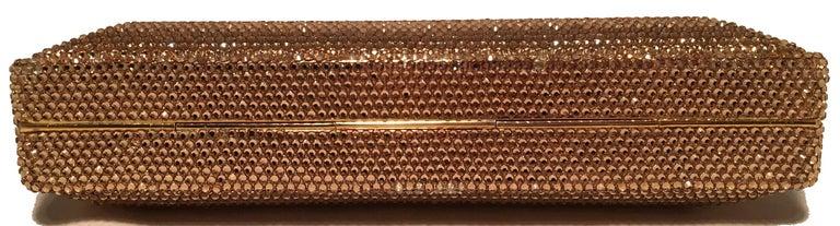 Women's Judith Leiber Gold Swarovski Crystal Evening Bag Minaudiere Clutch  For Sale