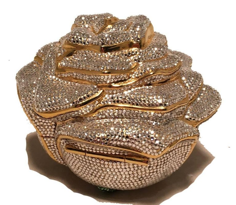 Brown Judith Leiber Swarovski Crystal Rose Minaudiere Evening Bag For Sale