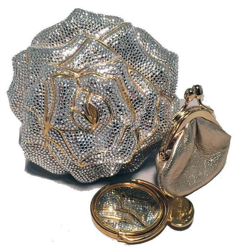 Judith Leiber Swarovski Crystal Rose Minaudiere Evening Bag For Sale 3