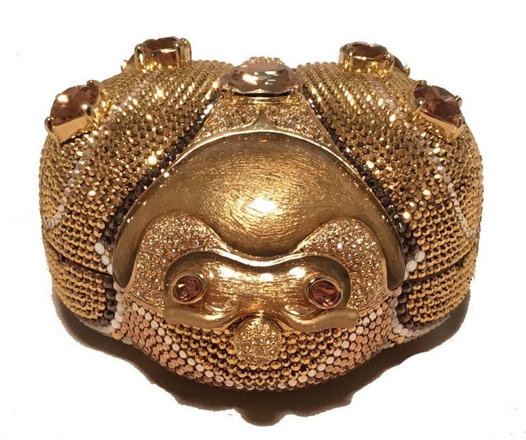 Brown Judith Leiber 45th Anniversary Edition Crystal Gold Ladybug Minaudiere For Sale