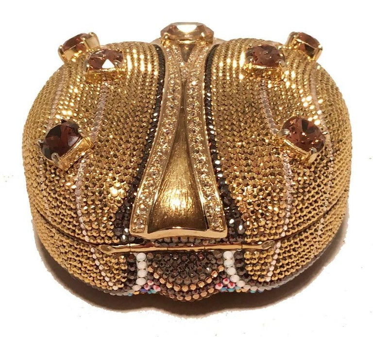Judith Leiber 45th Anniversary Edition Crystal Gold Ladybug Minaudiere In Excellent Condition For Sale In Philadelphia, PA