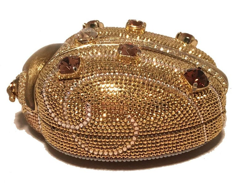 LIMITED EDITION Judith Leiber gold Swarovski Crystal ladybug/Beetle bug minaudiere evening bag in excellent condition. Engraved interior plate reveals this piece is from the 45th anniversary collection and is no longer made or sold in stores.