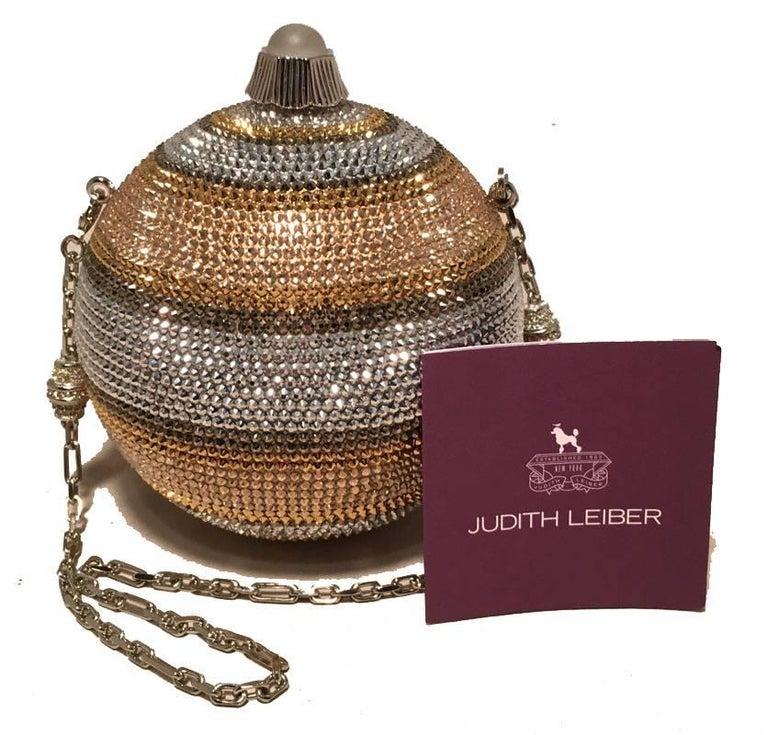 Judith Leiber Swarovski Crystal Striped Ball Minaudiere Evening Bag For Sale 2