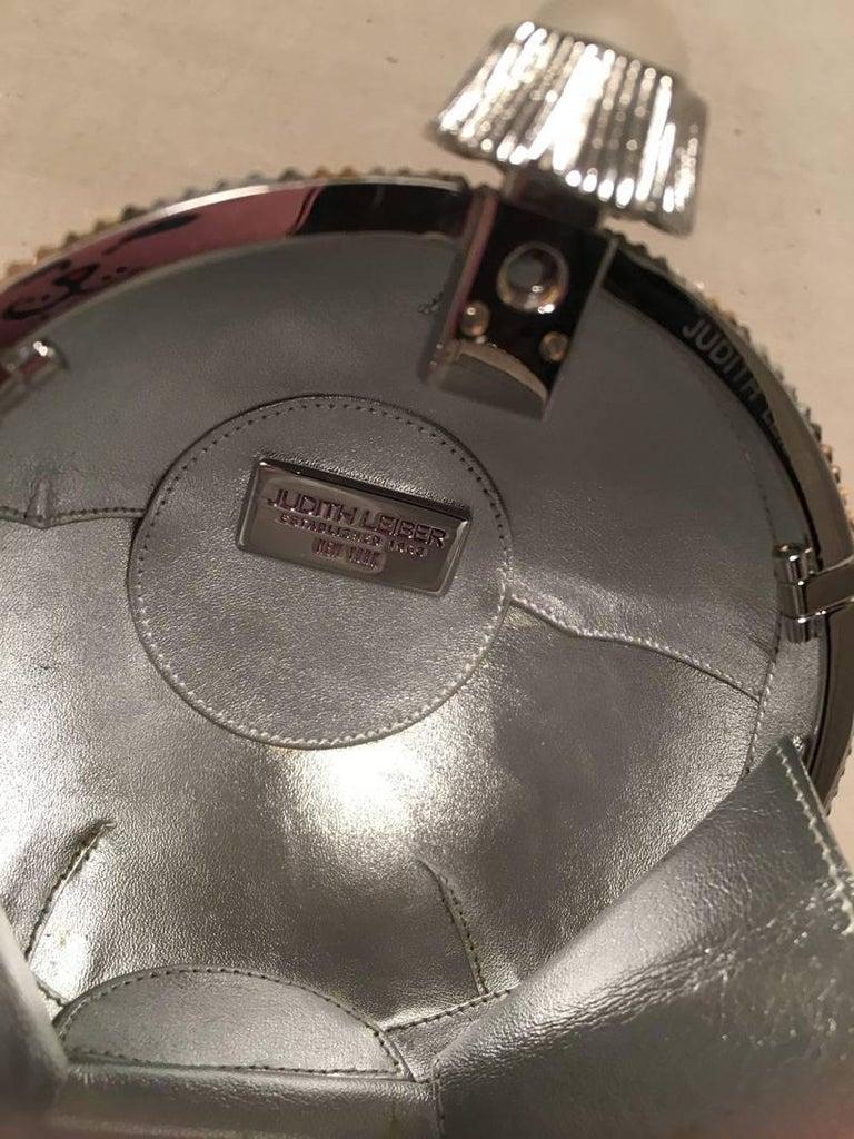Judith Leiber Swarovski Crystal Striped Ball Minaudiere Evening Bag For Sale 1