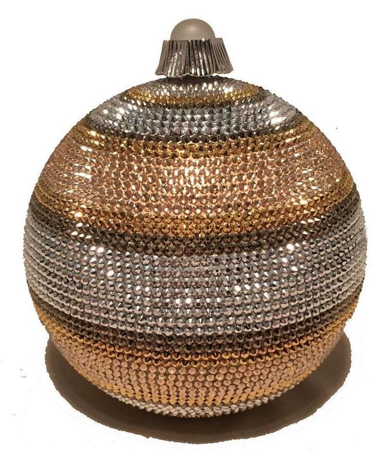 Brown Judith Leiber Swarovski Crystal Striped Ball Minaudiere Evening Bag For Sale
