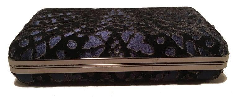 Women's Judith Leiber Navy Blue Black Velvet Cut Out Evening Bag Clutch For Sale