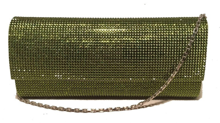 Judith Leiber Green Crystal Evening Bag Clutch For Sale 3