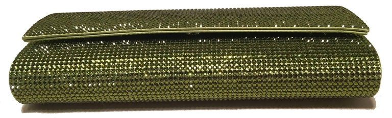 Women's Judith Leiber Green Crystal Evening Bag Clutch For Sale