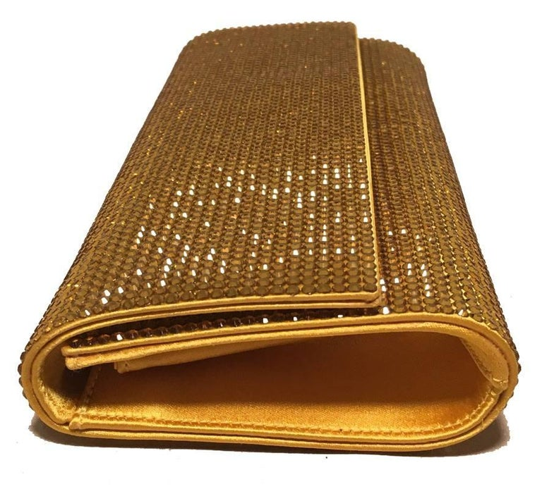 Brown Judith Leiber Gold Crystal Evening Bag Clutch For Sale