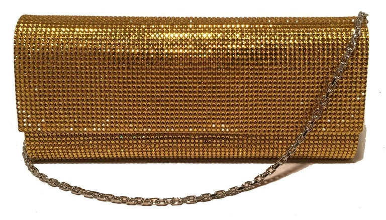 Judith Leiber Gold Crystal Evening Bag Clutch For Sale 2