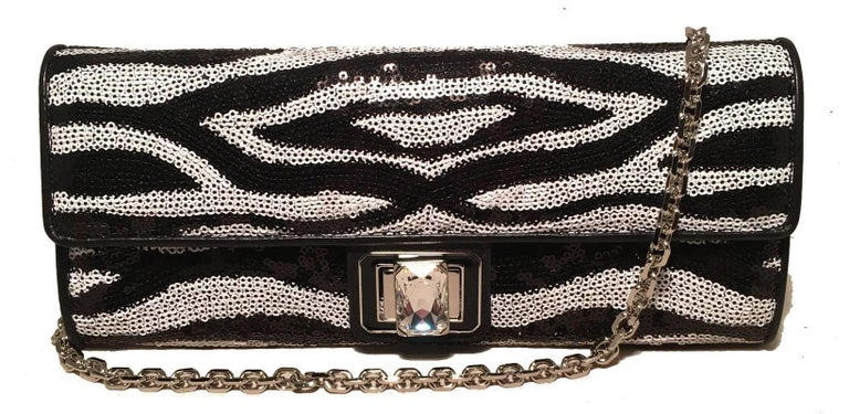 Judith Leiber Zebra Stripe Sequin Clutch For Sale 3