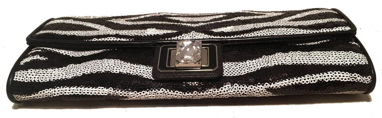 Judith Leiber Zebra Stripe Sequin Clutch In Excellent Condition For Sale In Philadelphia, PA