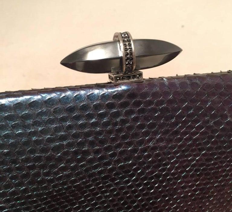 Women's Judith Leiber Purple Blue Snakeskin Python Iridescent Clutch For Sale