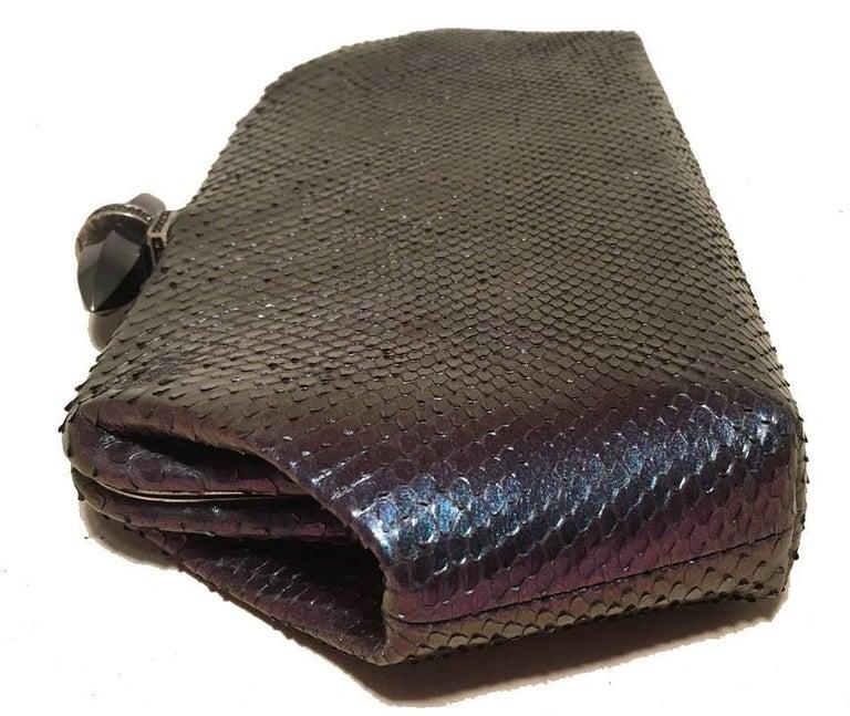 Black Judith Leiber Purple Blue Snakeskin Python Iridescent Clutch For Sale