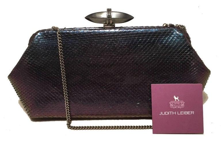 Judith Leiber Purple Blue Snakeskin Python Iridescent Clutch For Sale 3