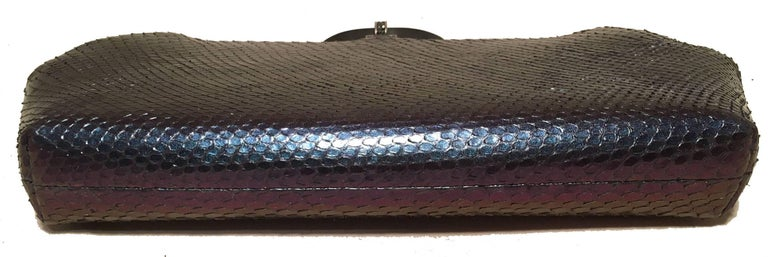 Judith Leiber Purple Blue Snakeskin Python Iridescent Clutch In Excellent Condition For Sale In Philadelphia, PA