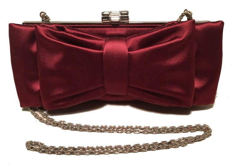 Judith Leiber Dark Red Silk Satin Bow Front Clutch Evening Bag For Sale 3